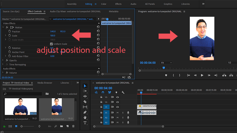adjust video position and scale