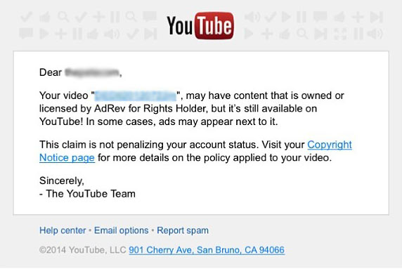 youtube adrev copyright notice