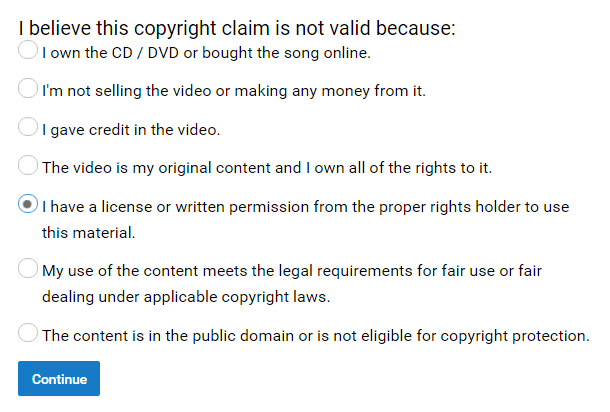 youtube copyright claim dispute